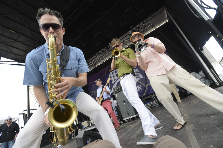 The Bucktown All-Stars play on the Abita Stage at the 2014 French Quarter Festival.